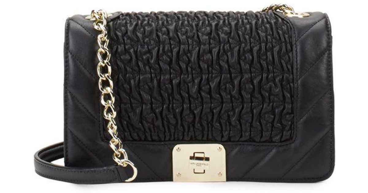 Lyst Karl Lagerfeld Lara Quilted Leather Shoulder Bag In Black