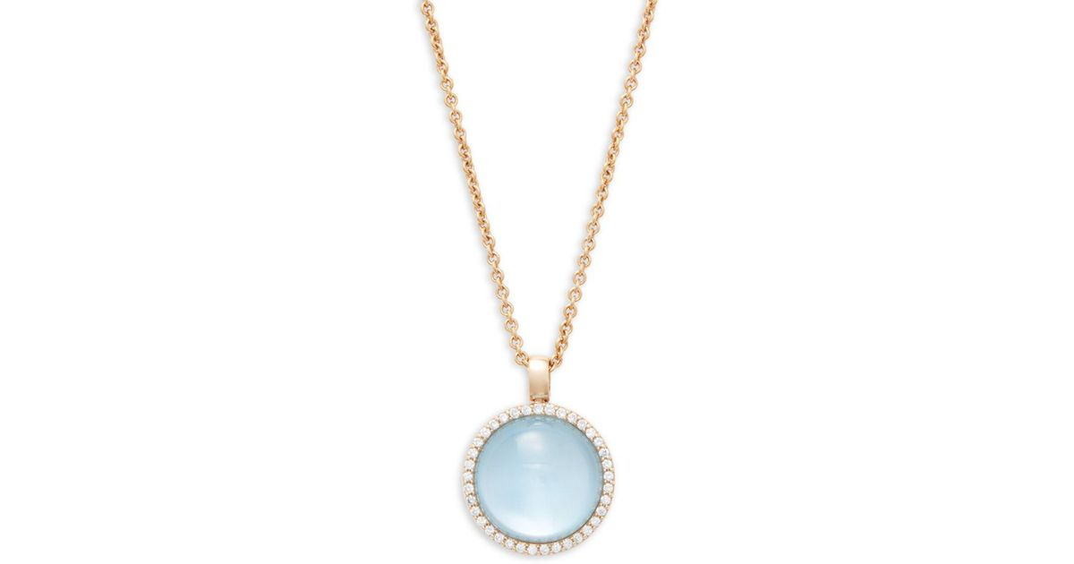 Lyst roberto coin round blue topaz diamond and 18k rose gold lyst roberto coin round blue topaz diamond and 18k rose gold pendant necklace in blue aloadofball Images