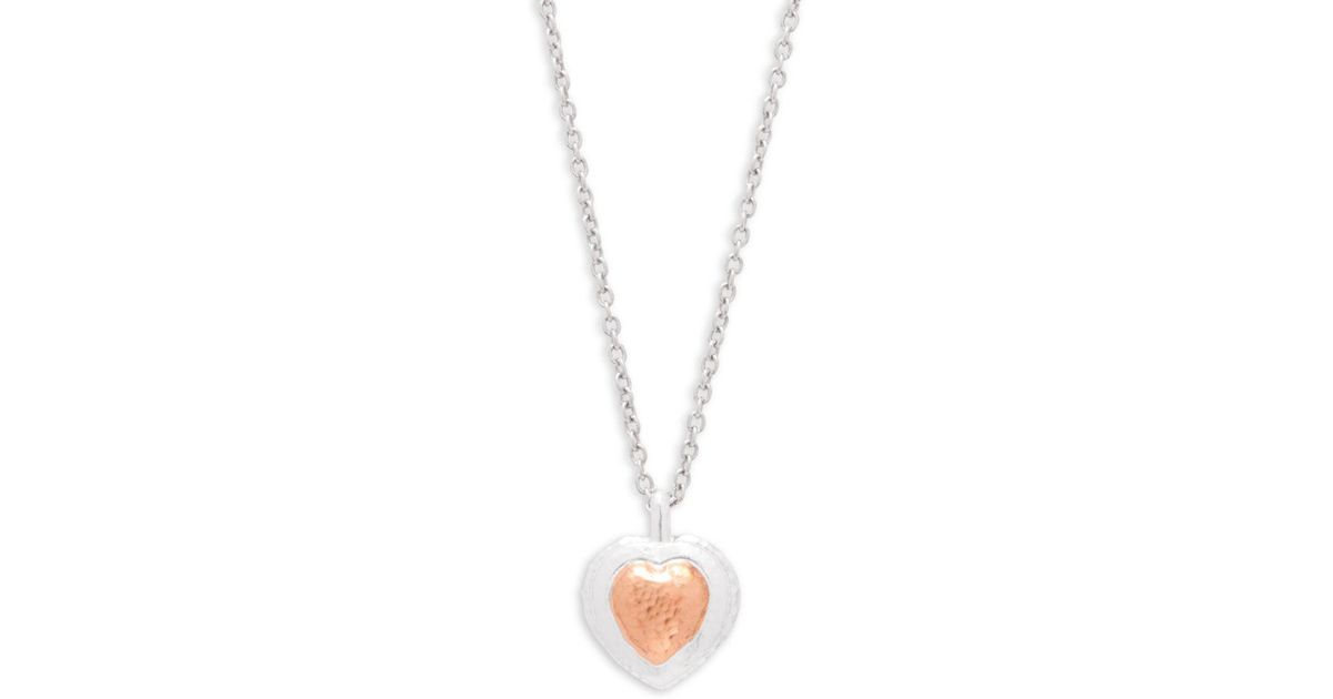 Lyst gurhan romance sterling silver rose goldtone large heart lyst gurhan romance sterling silver rose goldtone large heart pendant necklace in metallic save 18 mozeypictures Gallery