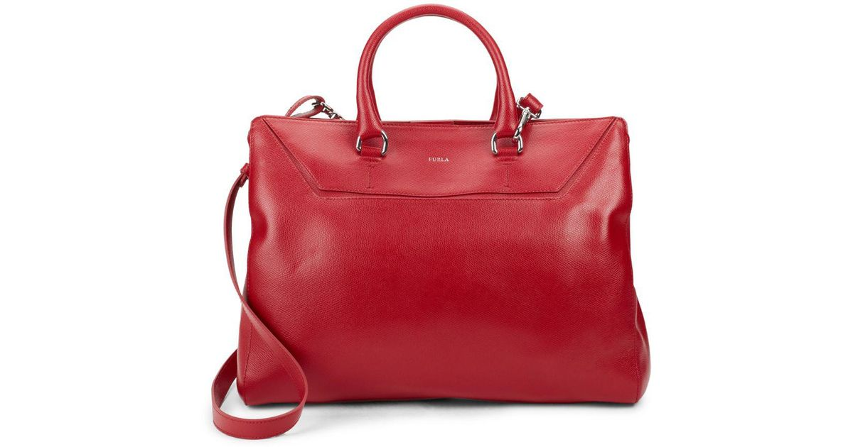8e735742f Furla Business Travel Leather Tote in Red - Lyst