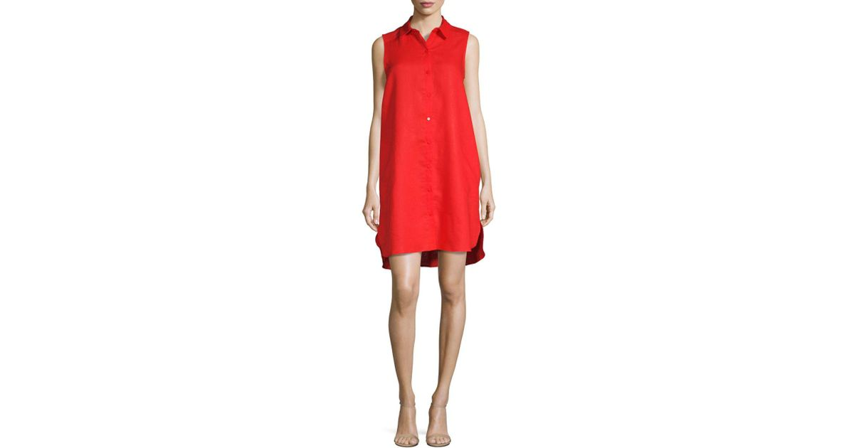 1b8497254a Lyst - Saks Fifth Avenue Black Linen Shift Dress in Red
