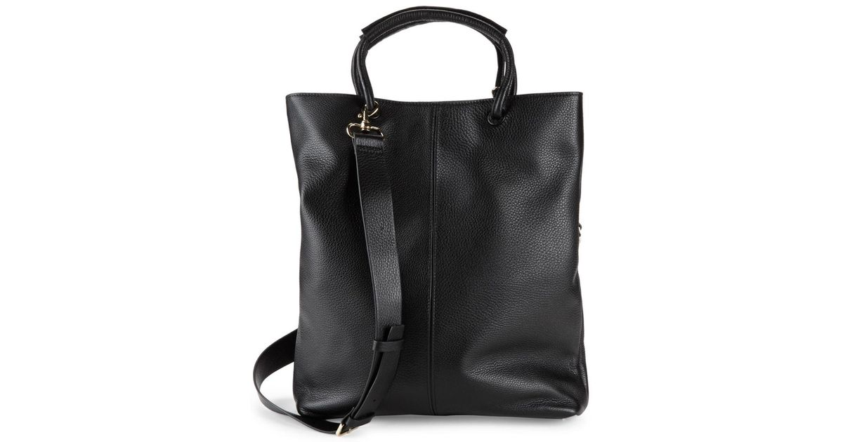0a70f056b1 Lyst - Halston Large Foldover Leather Tote Bag in Black