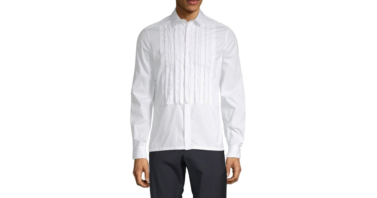 classic shoes new images of hot new products Valentino White Pintuck Cotton Button-down Shirt for men