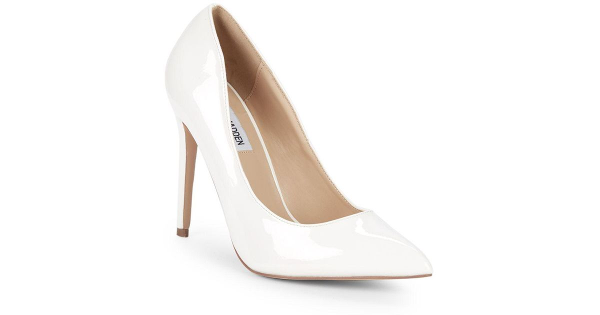 546b61b33d3 Lyst - Steve Madden Olena Patent Leather Pumps in White