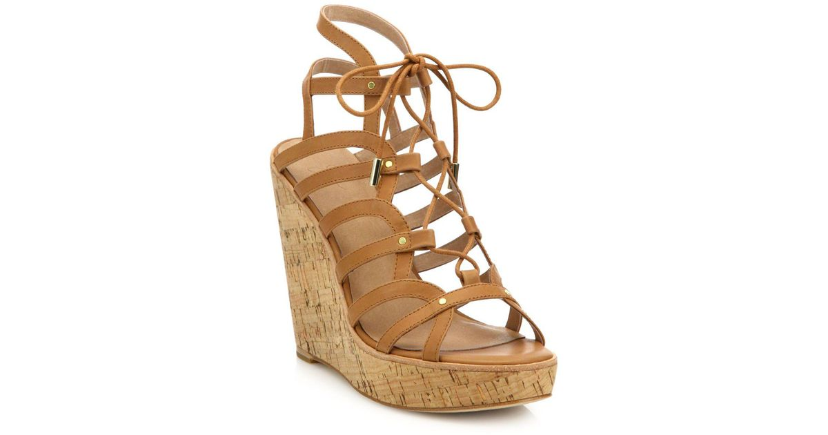 65457a777118 Lyst - Joie Larissa Leather Lace-up Cork Wedge Sandals