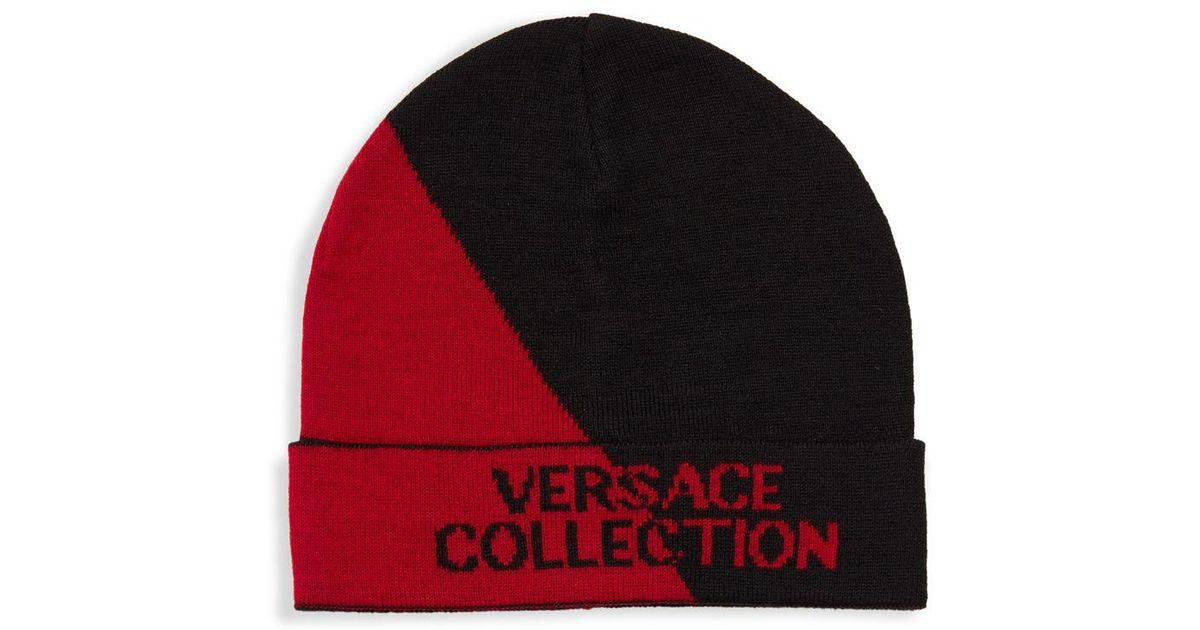 4ebad3fc6 Versace Red Two-tone Logo Beanie for men