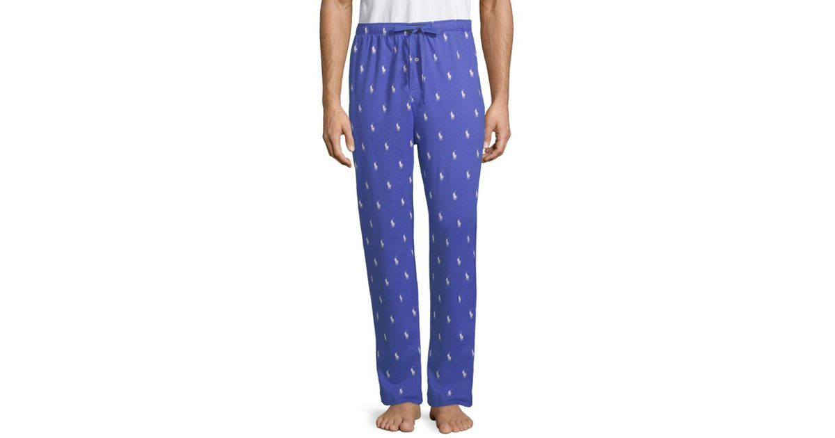 For Polo Lauren Allover Pony Print Jogger Pants Cotton Men Ralph Blue 6Yvfgb7y