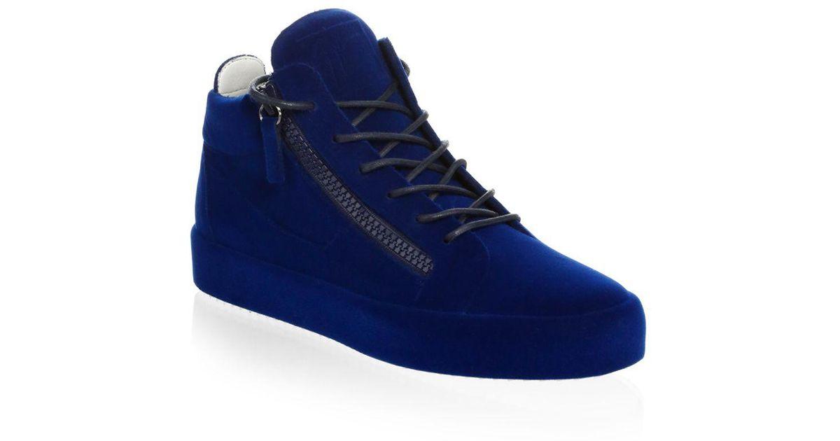 7922a82e460 Lyst - Giuseppe Zanotti Velvet Spray High-top Sneakers in Blue