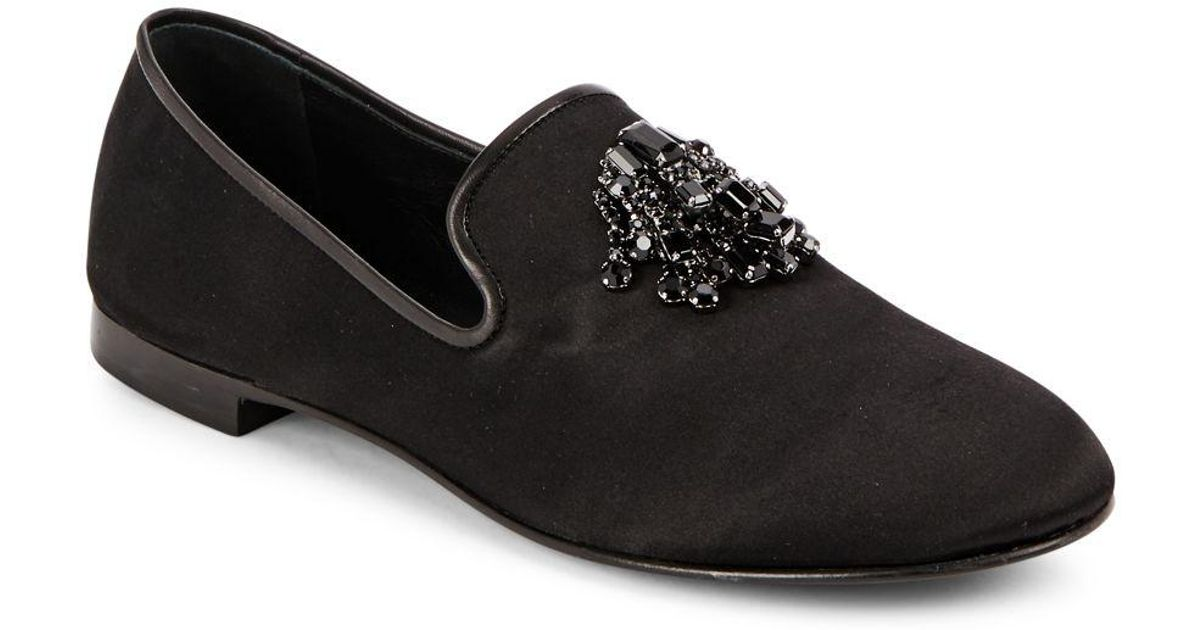 6e277ec29 Lyst - Giuseppe Zanotti Raso Leather Loafers in Black