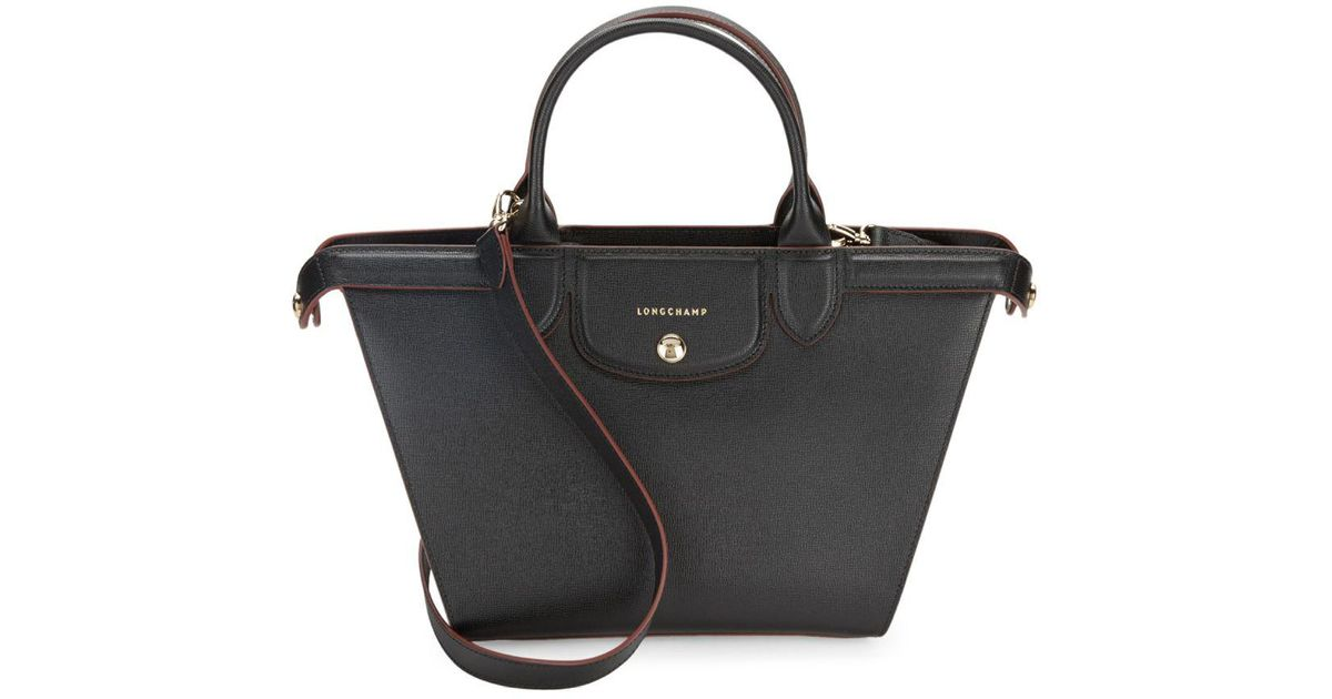 1c7579aa8917f Lyst - Longchamp Zippered Leather Shoulder Bag in Black