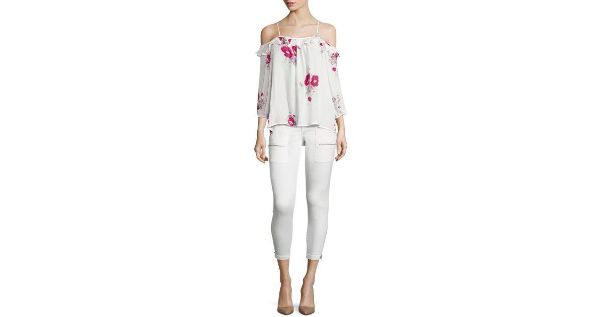 e283d2ce109e7c Lyst - Joie Birtha Floral-print Cold-shoulder Silk Top