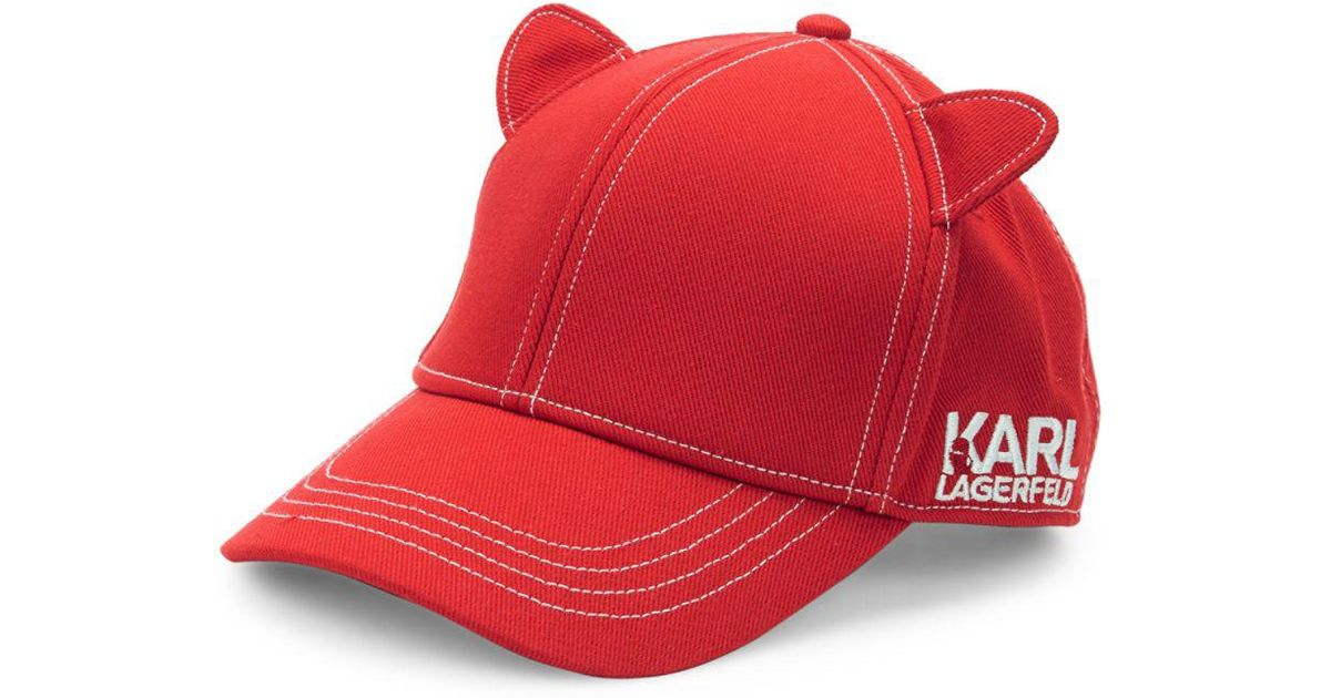 a47b4701335 Lyst - Karl Lagerfeld Cat Ear Baseball Cap in Red