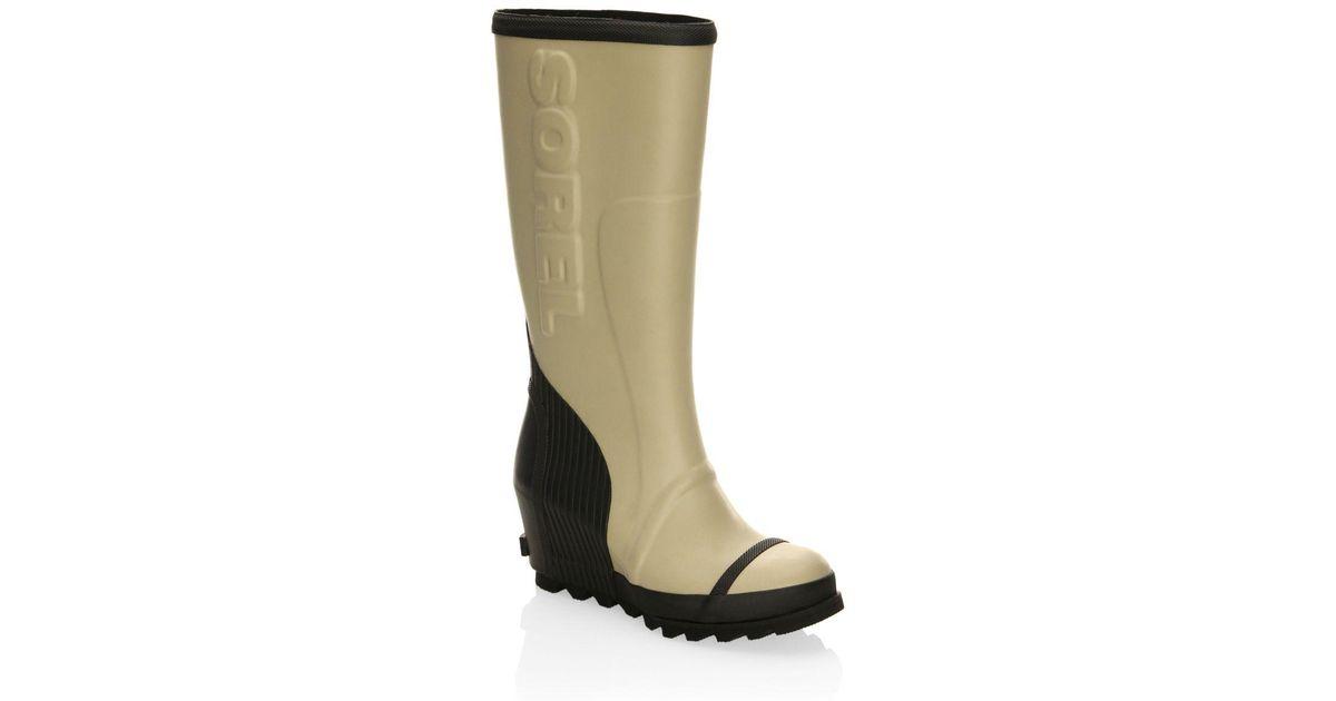 1e028a5f267 Lyst Sorel Joan Wedge Rubber Rain Boots In Black