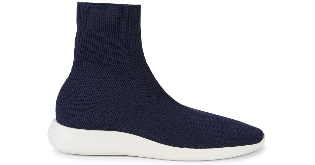 Vince Leather Abbot Knit Sock Sneakers