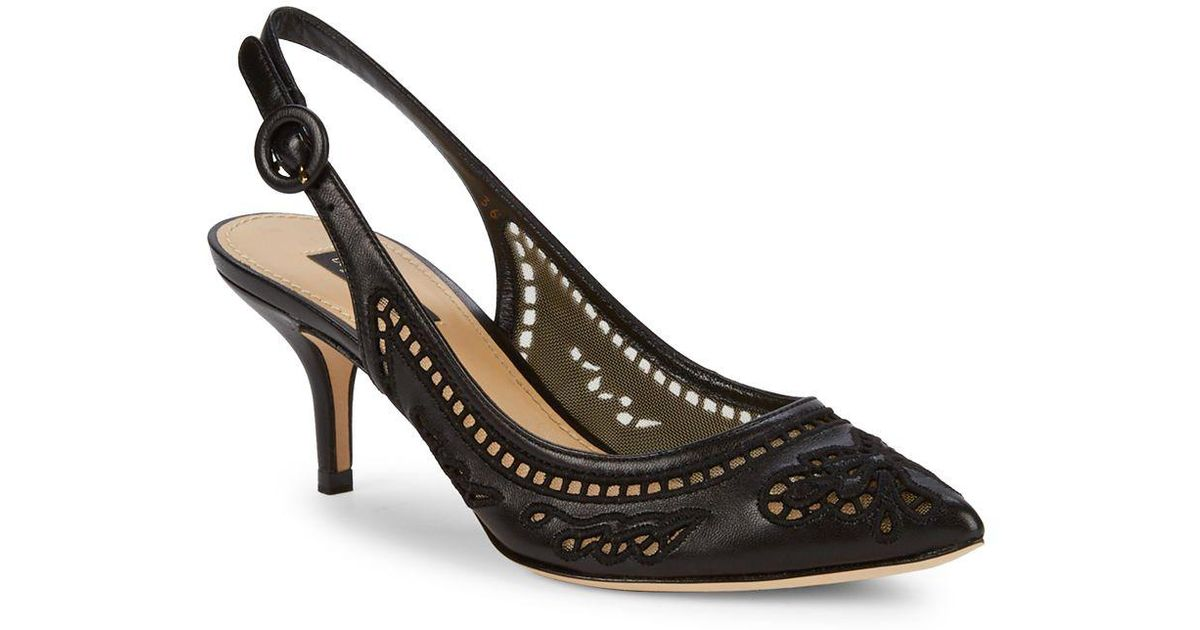 ad2ebacef36f Lyst - Dolce   Gabbana Cutout Leather Slingback Heels in Black