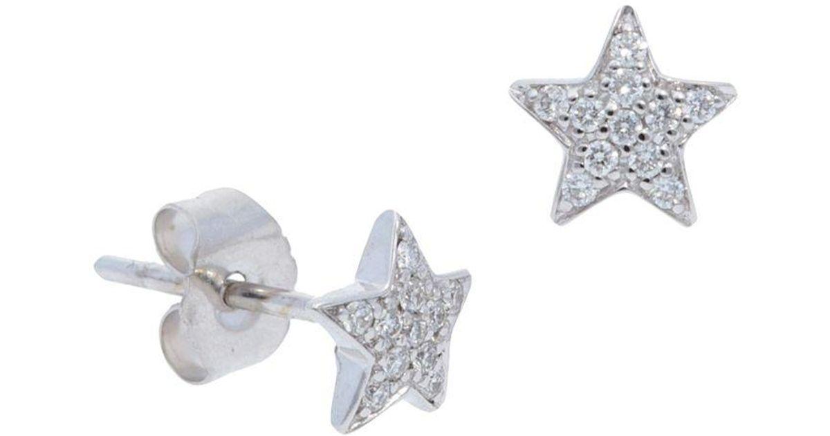 Lyst Nephora 14k White Gold Pavé Diamond Star Stud Earrings In Metallic
