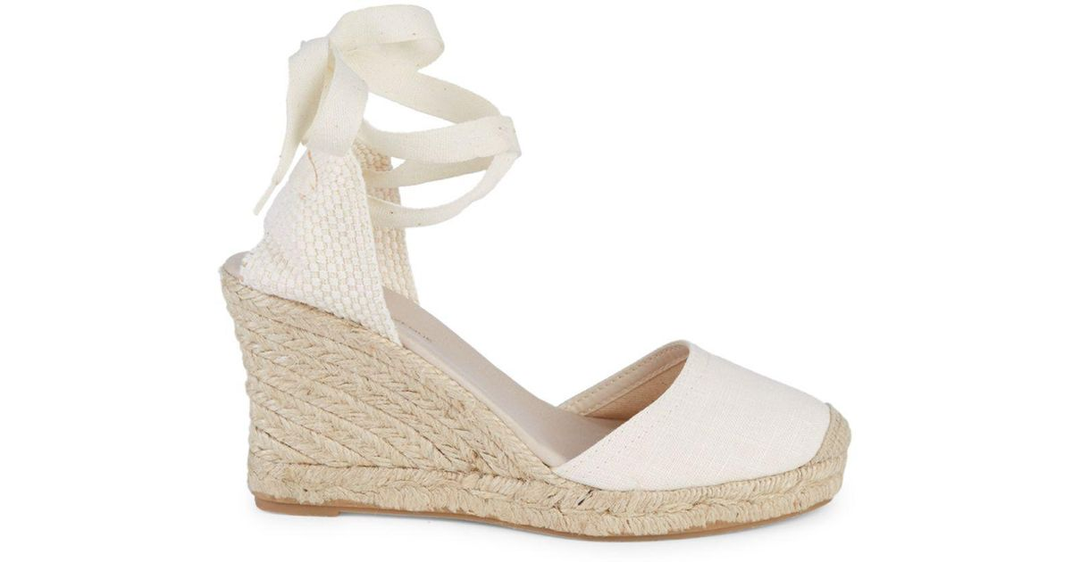e5f863eae40 Saks Fifth Avenue White Polina Espadrille Wedge Sandals