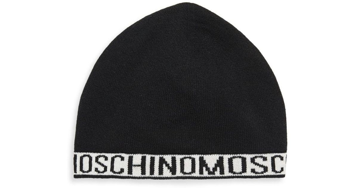 ba3ad24fb4c86 Lyst - Moschino Ribbed Intarsia Beanie in Black for Men