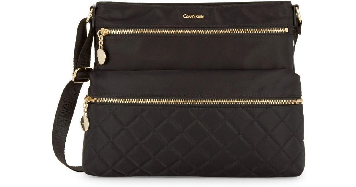 b8ab0bb851c5 Lyst Calvin Klein Quilted Crossbody Bag In Black. Black Quilted Leather ...