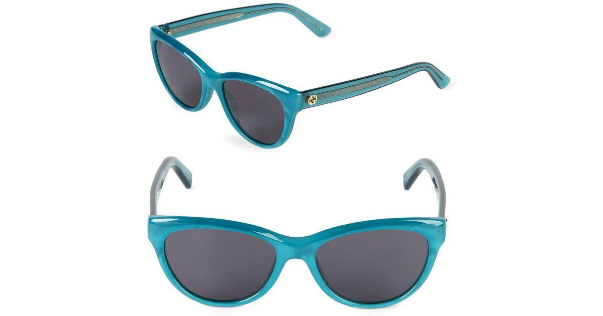 3f8c3164a1c Lyst - Gucci 53mm Round Sunglasses in Blue