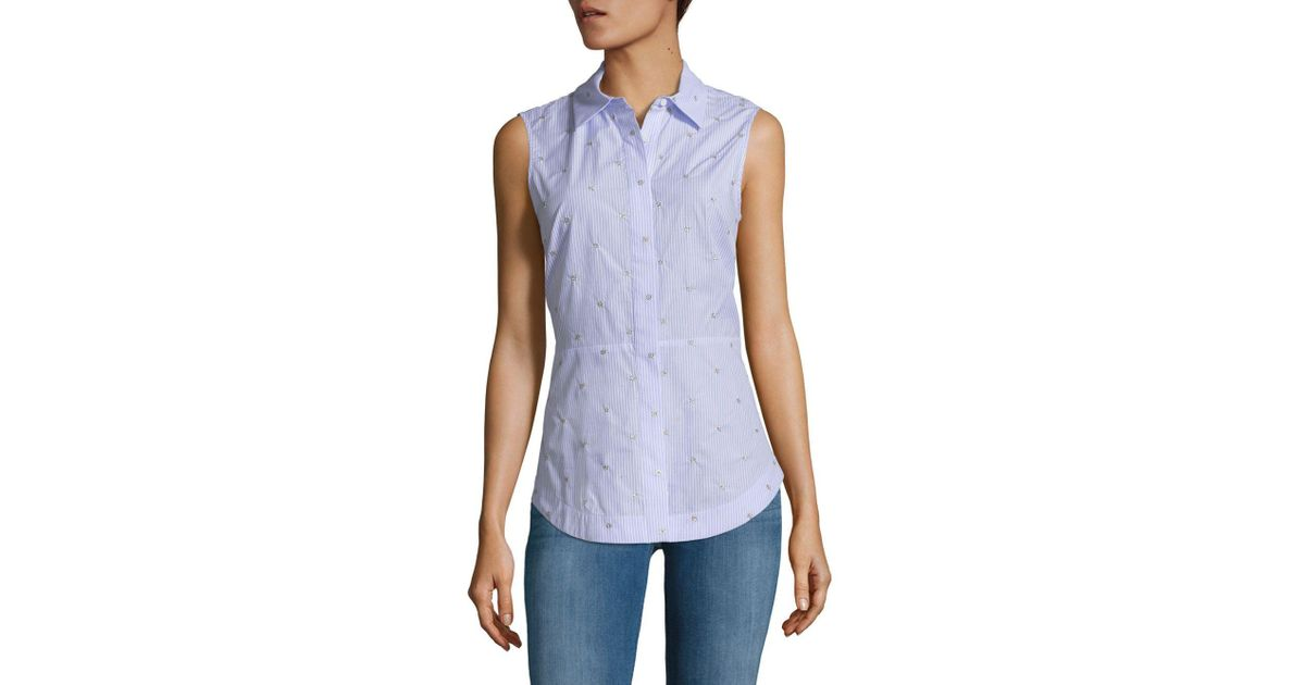 6a05e5a37a163 Lyst - 10 Crosby Derek Lam Embellished Tie-back Collared Shirt in Blue -  Save 43%