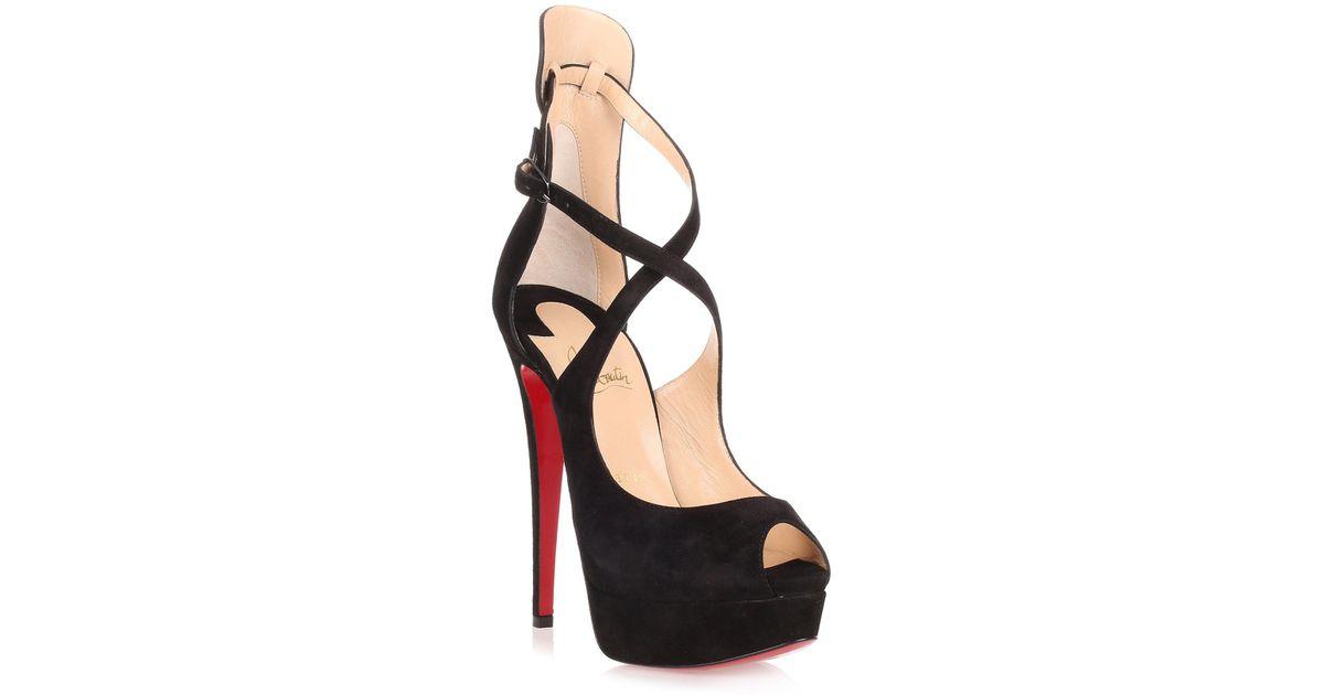 buy online 02361 6397a Christian Louboutin Marlenalta 150 Black Suede Sandal