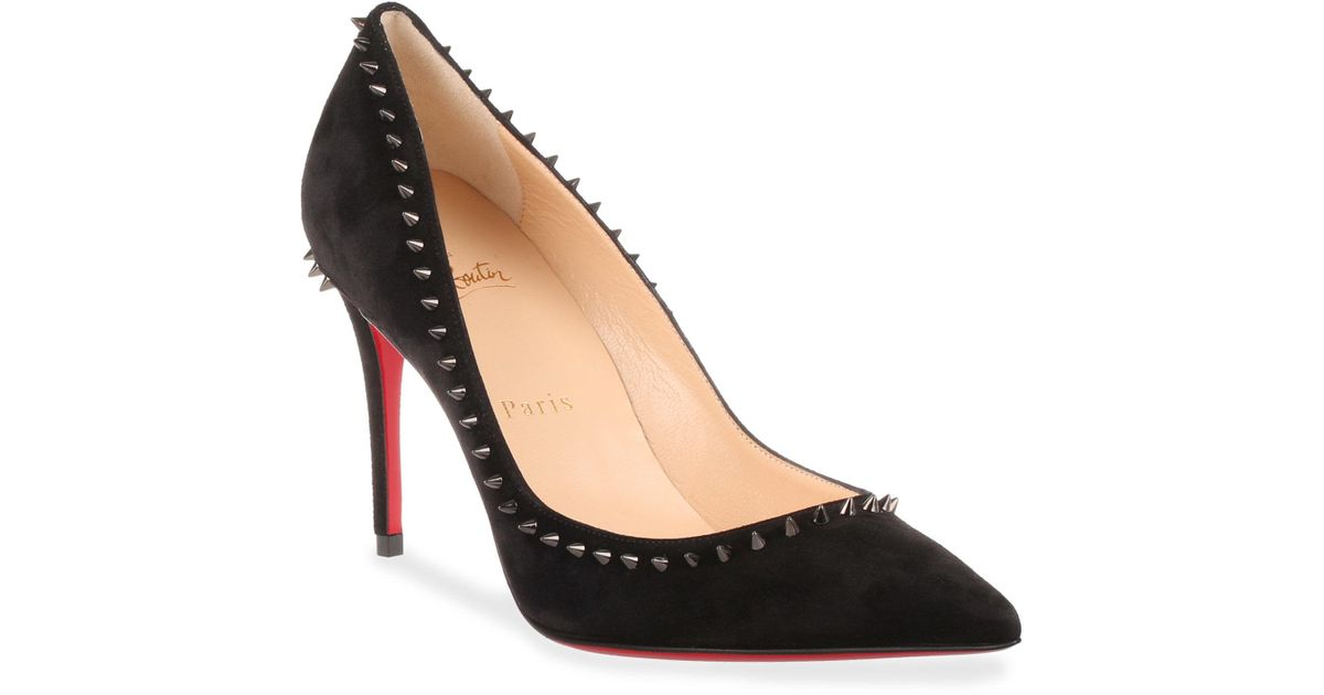 6afb442fae99 Lyst - Christian Louboutin Anjalina 85 Black Suede Spike Pump in Black