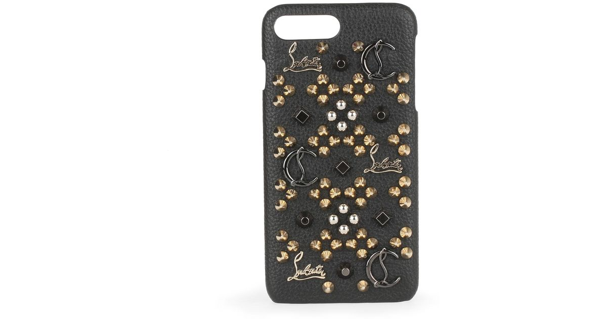 0a50f82fb6e Christian Louboutin Loubiphone Iphone 7 And 8 Plus Black Leather Phone Case