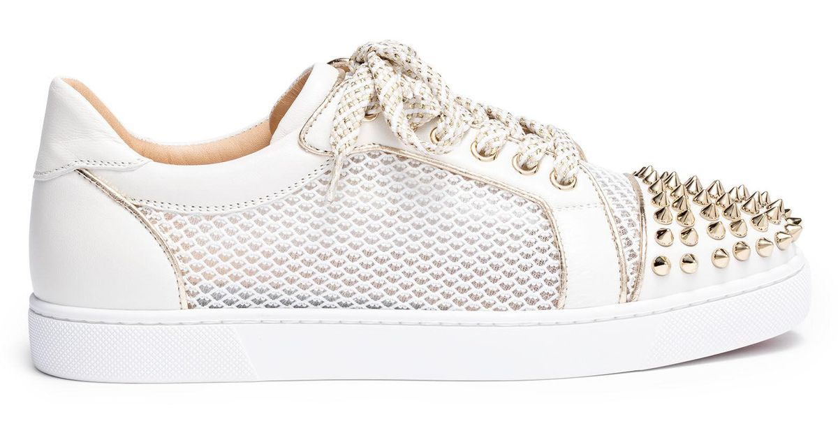 8bac2264904 Christian Louboutin Metallic Vieira Light Gold Leather Spike Sneakers