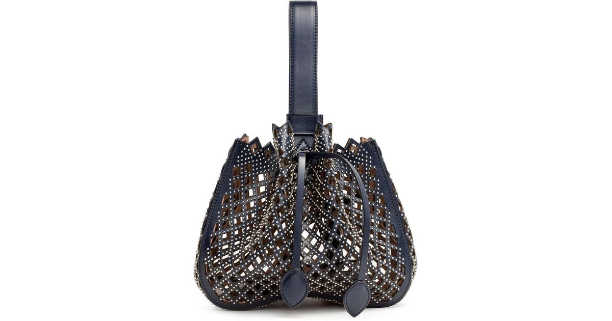 Alaia Navy Leather Studded Bucket Bag VhykH2