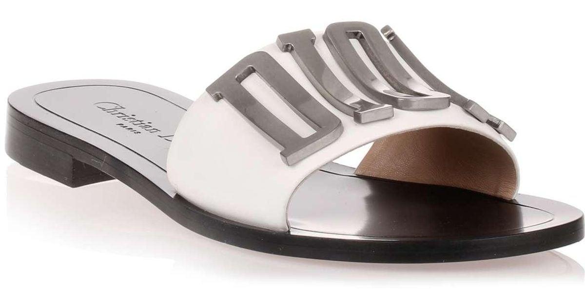 62d5141e524 Dior - Evolution White Leather Slide Us - Lyst