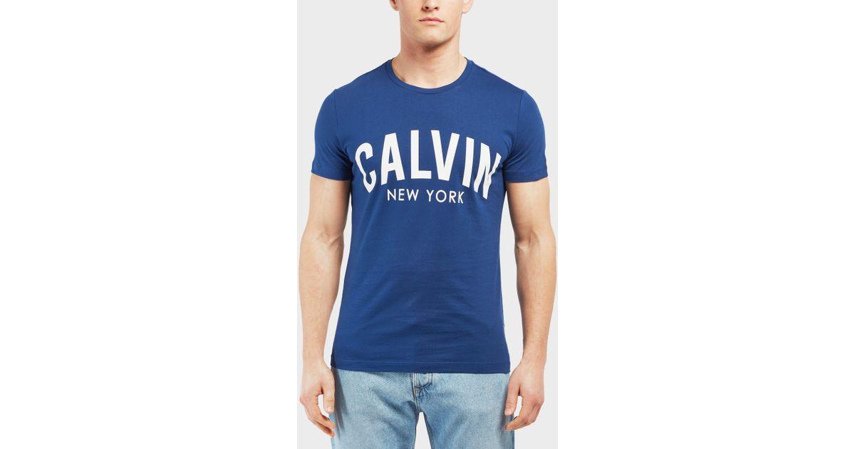 Calvin Blue Sleeve T York Short For New Shirt Klein Men F1TJclK