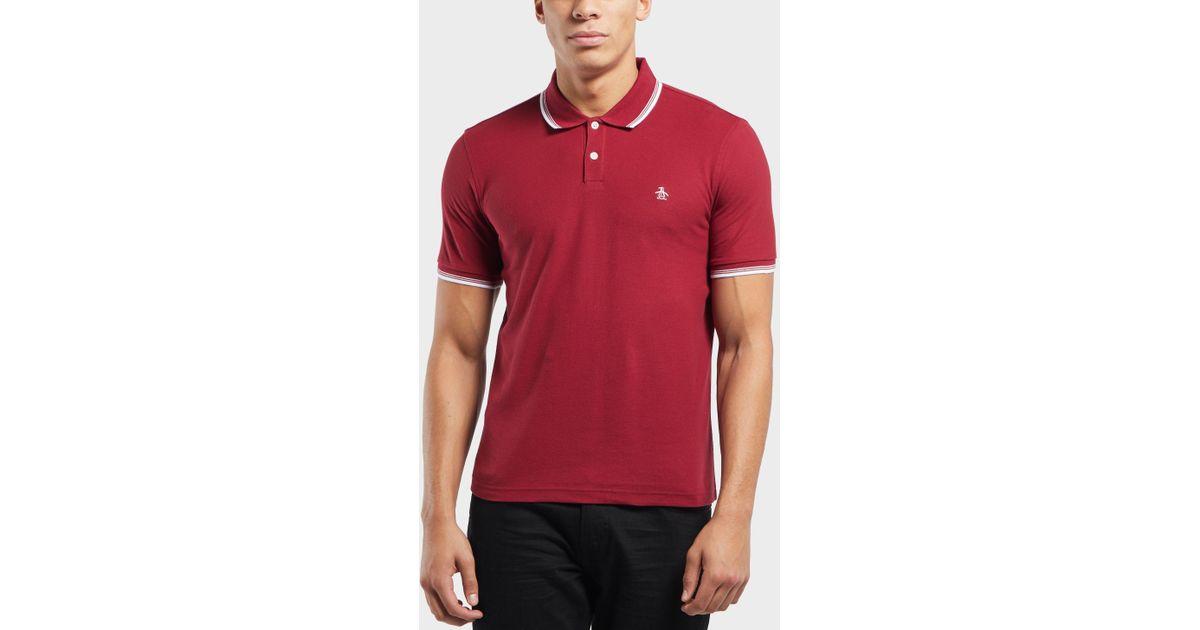 Original Penguin Short Sleeve Logo Polo Shirt In Red For Men Lyst