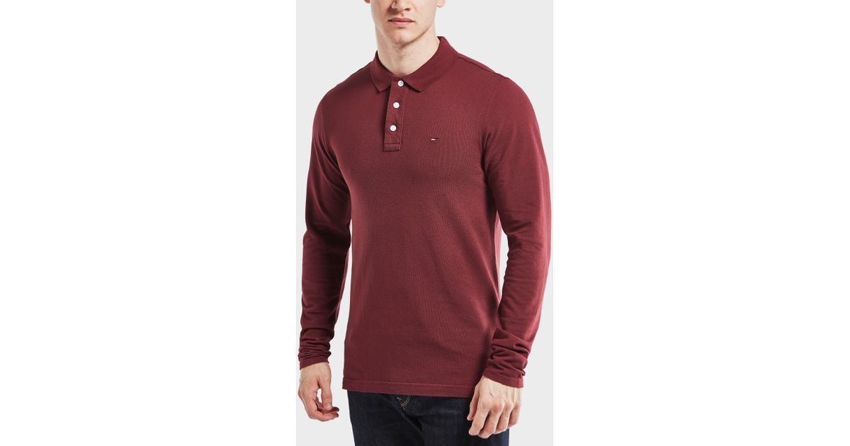 b18cb7dc1fa Tommy Hilfiger Long Sleeve Polo Shirt in Red for Men - Lyst