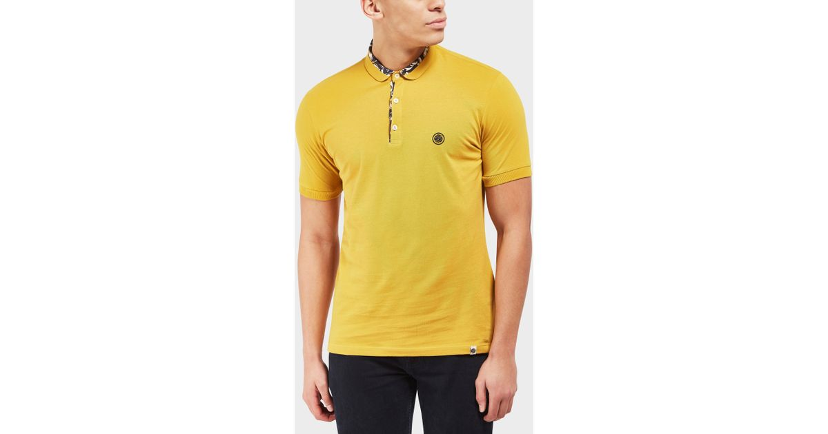 b3269f1a Pretty Green Beaufort Short Sleeve Polo Shirt - Exclusive in Yellow for Men  - Lyst