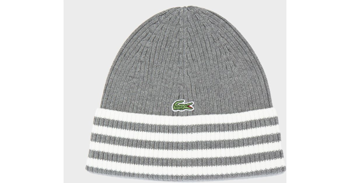 55a5eb7bc1c Lacoste Striped Beanie in Gray for Men - Lyst