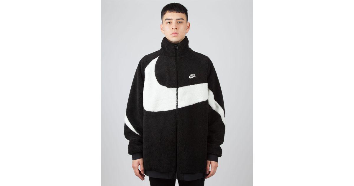 030c56db5 Nike Black Oversized Swoosh Full Zip Reversible Fleece Jacket for men