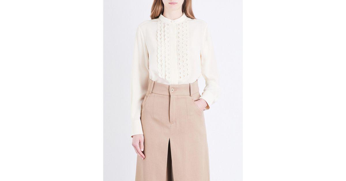 53af1445496a45 Chloé Eyelet-embroidered Silk-crepe De Chine Shirt - Lyst
