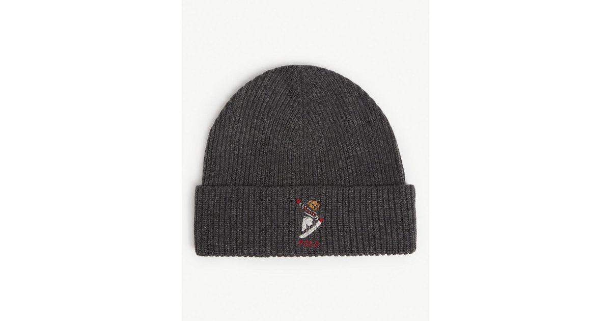 fce372469b Polo Ralph Lauren Gray Snow Bear Knit Beanie - for men