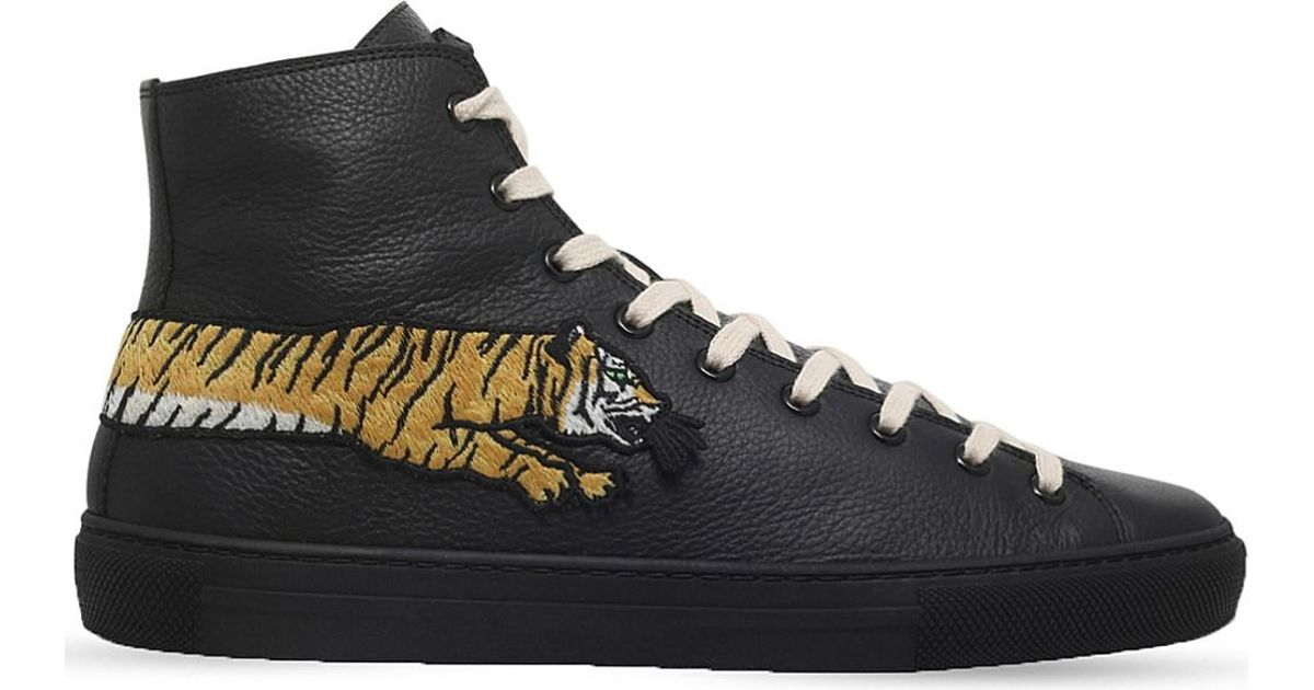23d57e8c7df Lyst - Gucci Major Tiger Leather High-top Trainers in Black for Men