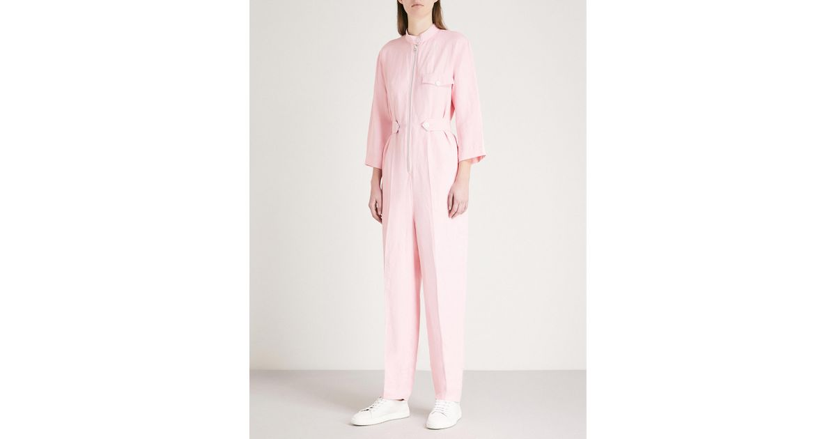 6aa211123a46 Sandro Straight-leg Twill Jumpsuit in Pink - Lyst