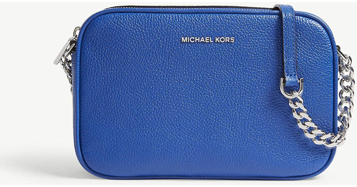8a7054b5836e MICHAEL Michael Kors Ginny Medium Grained Leather Cross-body Bag in Blue -  Lyst