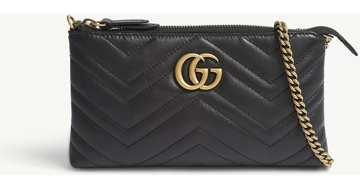 18f303581a18 Gucci Gg Small Quilted Leather Wallet-on-chain in Black - Lyst
