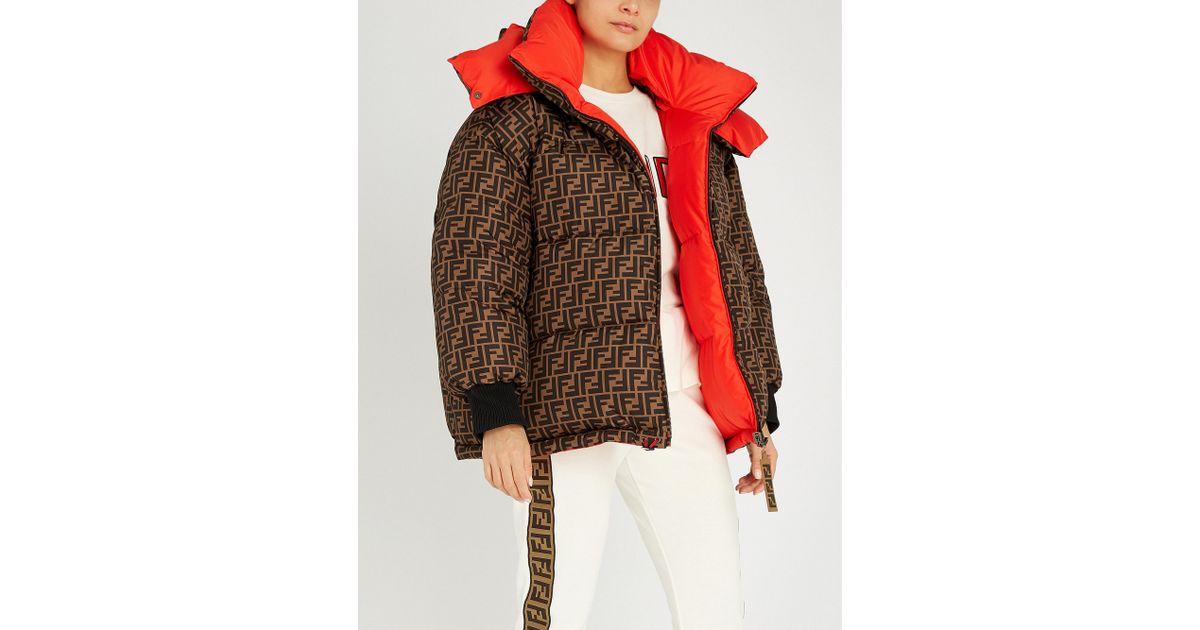 a3a4e71a Fendi Multicolor Logo-print Reversible Padded Shell-down Jacket