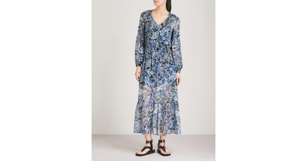 96b99875320 The Kooples Silk Midi Dress in Blue - Lyst