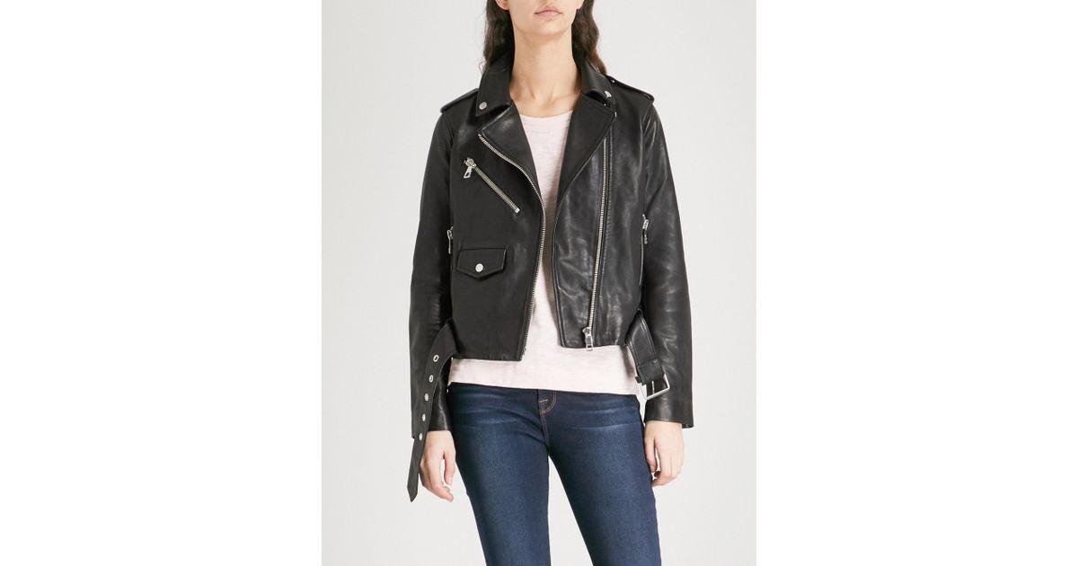 787af62d5 Whistles Black Agnes Belted Leather Biker Jacket