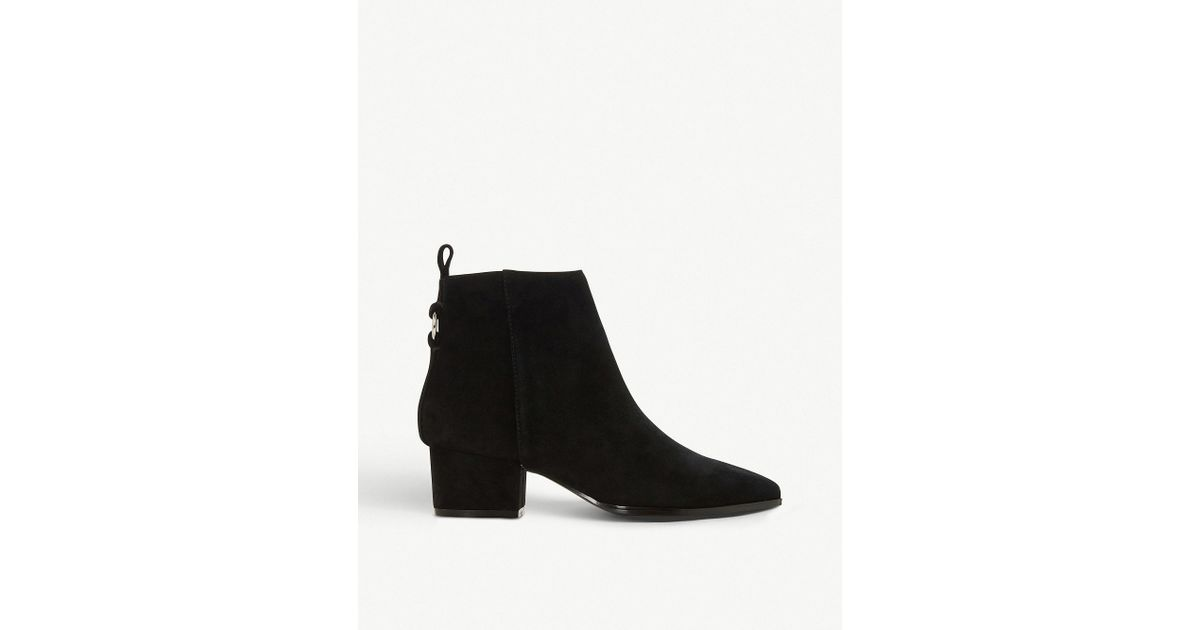 300d2f7591f Lyst - Steve Madden Clover Ring-detail Suede Ankle Boots in Black