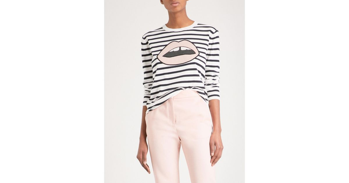 aa6253d1 Markus Lupfer Lips-print Breton-striped Cotton Jumper - Lyst