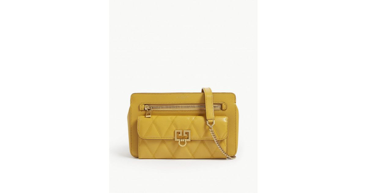 Lyst - Givenchy Quilted Pocket Leather Shoulder Bag in Yellow 71c325823e