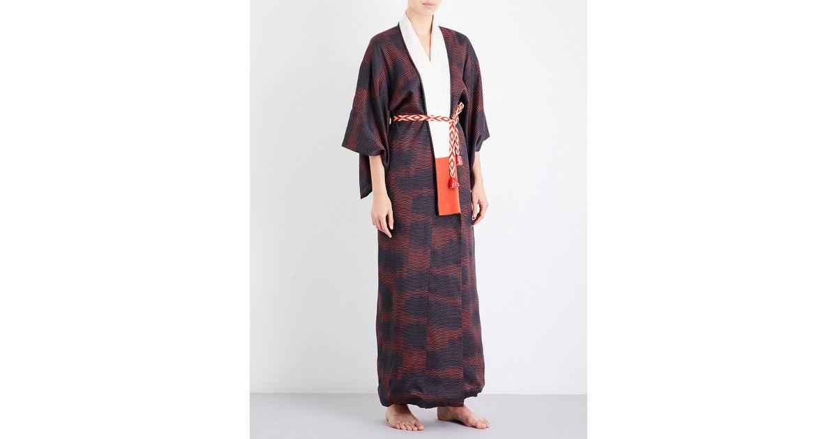Lyst - Kisshoten Shimmering Heat Silk Kimono Robe in Purple